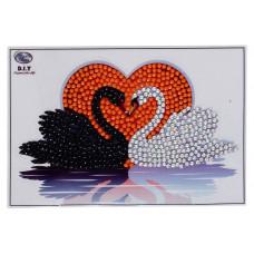 DIY - Klistermærker - Krystal Art motiv - Kyssende svaner