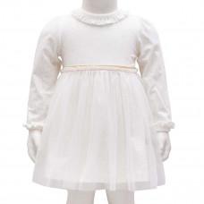 Little Wonders - Dåbs- / Fest kjole - Råhvid med guld - Str 74/80