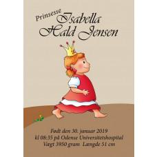 Personlig navneplakat - Prinsesse fødselsplakat
