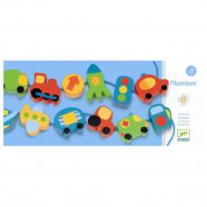 Djeco - Motorisk legetøj - Træperle sæt - Køretøjer