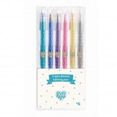 Djeco - Lovely Paper - Tuscher gel pens - Glitter - 6 stk