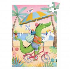 Djeco - Mini puslespil - 60 brikker - Croco Beach