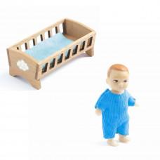 Djeco - Petit Home - Dukkehus dukker - Baby og vugge