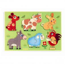 Djeco - 2-del puslespil i træ - Coucou-Cow - Dyr på engen