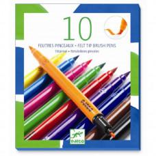 Djeco - Tuscher - Klassiske farver - 2 i 1 - 10 farver