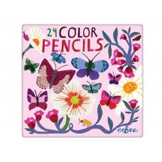 eeBoo - Farveblyanter - Sommerfugle & Blomster 24 stk. (Fåes også med navn)