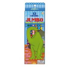 eeBoo - Jumbo farveblyanter - Dino 6 stk, Dobbelt (Fåes også med navn)