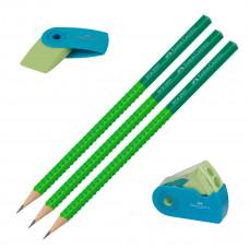 Faber-Castell - Viskelæder - Blyantspidser - 3 stk. blyanter grip - Grøn. (Fåes også med navn)