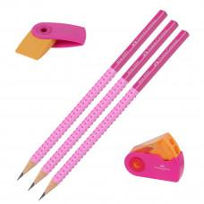 Faber-Castell - Viskelæder - Blyantspidser - 3 stk. blyanter grip - Pink. (Fåes også med navn)