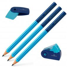 Faber-Castell - Viskelæder - Blyantspidser - 3 stk. Jumbo blyanter grip - Blå. (Fåes også med navn)