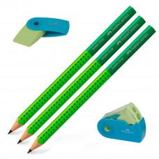 Faber-Castell - Viskelæder - Blyantspidser - 3 stk. Jumbo blyanter grip - Grøn. (Fåes også med navn)