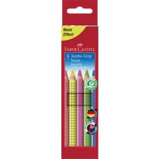 Faber-Castell - Jumbo grip farveblyanter Neon - 5 stk - (Fåes også med navn)