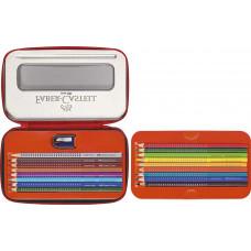 Faber-Castell - Farveblyanter Grip i metal penalhus16 stk med blyantspidser. (Fåes også med navn)