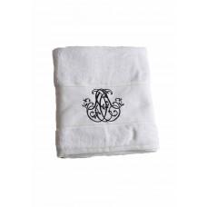 Elegance -  Bade Håndklæde - Hvid med sort monogram
