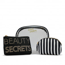 Gillian Jones - Toilettaske - Beauty Secrets - 3 - delt - Sort og hvid stribet