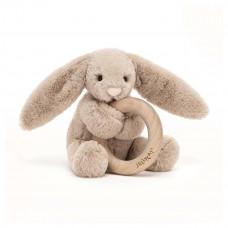 Jellycat - Baby Aktivitets-rangle/bidering - Bashful kanin - Beige