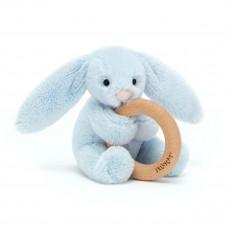 Jellycat - Baby Aktivitets-rangle/bidering - Bashful kanin - Lyseblå