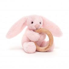 Jellycat - Baby Aktivitets-rangle/bidering - Bashful kanin - Lyserød