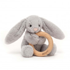Jellycat - Baby Aktivitets-rangle/bidering - Bashful kanin - Silver