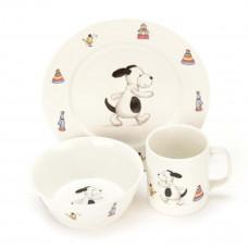 Jellycat - Spisesæt - Børneservice i keramik - Bashful hund