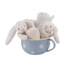 Jellycat - Gavesæt - Lyseblå potte - Creme