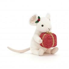 Jellycat - Julebamse - Merry Mus med julegave 18 cm