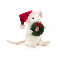 Jellycat - Julebamse - Merry Mus med julekrans 18 cm