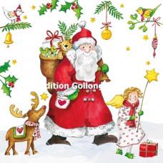 Julekort - Julemand med gavesæk