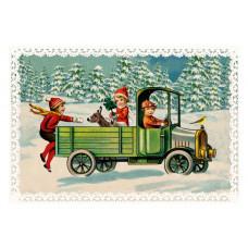 Coppenrath - Gavemærke julekalender med glimmer - Julebørn der henter juletræ