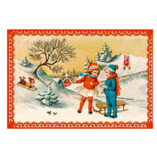 Coppenrath - Gavemærke julekalender med glimmer - Julebørn der kælker