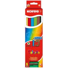 Kores - Farveblyanter Jumbo 6 stk. (Fåes også med navn)