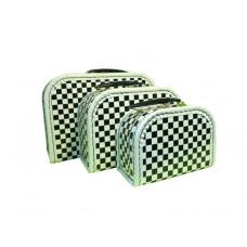 Kuffert - Sort og hvid ternet - Lille