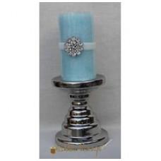 Flot lysestage - Til blok lys - I keramik - Sølv
