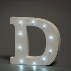 Up Lights hvide Alfabet træ bogstaver med LED lys - D