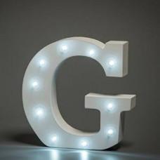 Up Lights hvide Alfabet træ bogstaver med LED lys - G