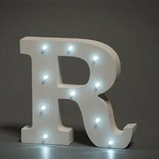 Up Lights hvide Alfabet træ bogstaver med LED lys - R
