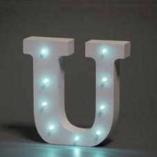 Up Lights hvide Alfabet træ bogstaver med LED lys - U