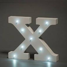 Up Lights hvide Alfabet træ bogstaver med LED lys - X