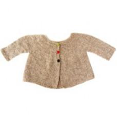 Billigt garn - DIY - Lillestrik strikkekits - Babytrøje Gry med Natur - str. 0-6 måneder - str. 6-22 måneder.