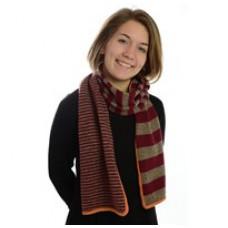 Billigt garn - DIY - Lillestrik strikkekits - Tørklæde 3 gange striber - Rød