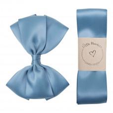 Little Wonders - Dåbsbånd til dreng - Silke m. sløjfe - Dusty blue