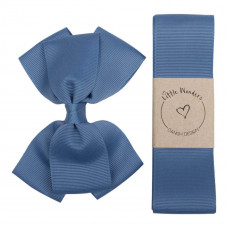Little Wonders - Dåbsbånd til dreng - Grosgrain m. sløjfe - Dusty blue