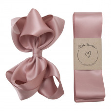 Little Wonders - Dåbsbånd til pige - Silke m. sløjfe - Støvet rosa