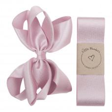 Little Wonders - Dåbsbånd til pige - Glitter silke m. sløjfe - Pearl pink