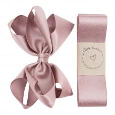 Little Wonders - Dåbsbånd til pige - Glitter silke m. sløjfe - Støvet rosa