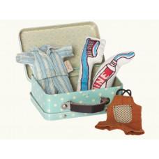 Maileg - Metal kuffert til micro kanin dreng med tøj og tilbehør