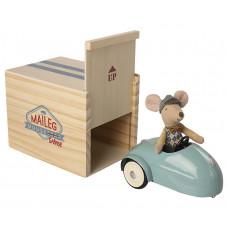 Maileg - Dukkehus tilbehør til mus - Bil til mus med garage - Blå