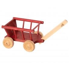 Maileg - Dukkehus tilbehør - Trækvogn - Støvet rød