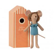Maileg - Strandmus - Mor mus i strandkabine