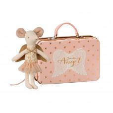 Maileg - Metal kuffert - Skytsengel med guld vinger - Storesøster mus